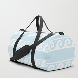 Pale Blue and white Greek wave ornament pattern Duffle Bag