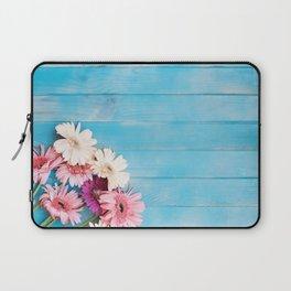 Flowers x Faded Blue Wood Laptop Sleeve