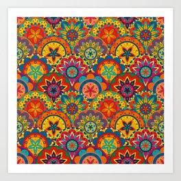 Funky Retro Pattern Mandalas Art Print