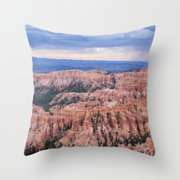 Sunset over Hoodoos - Bryce Canyon National Park, Rocky Natural Landscape, Utah Hiking Photography Throw Pillow
