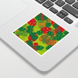 monstera green red Sticker