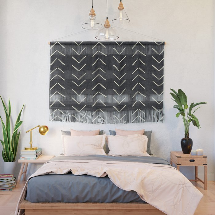 Mudcloth Big Arrows in Black and White Wall Hanging by beckybailey1