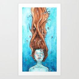 Drowning in Flowers Art Print
