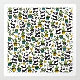 Panda Print, Succulents, Greenery and Cute Pandas, Flowers and Cactus Art Print