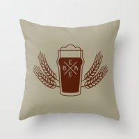 beer Throw Pillows featuring Beer. by Sparganum