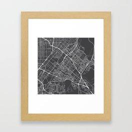 Irvine Map, USA - Gray Framed Art Print