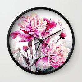 Watercolor peony painting Wall Clock