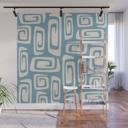 Mid Century Modern Cosmic Abstract 519 Blue and Beige Wall Mural