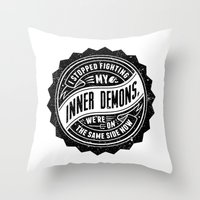 inner demons Throw Pillows featuring Inner Demons by Indigo Perez