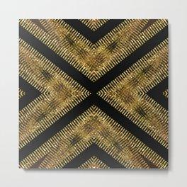Black Gold | Tribal Geometric Metal Print