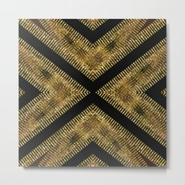 Black Gold | Tribal Geometric Metal Print