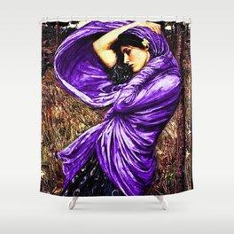 Boreas 1903 by John William Waterhouse in purple decor Shower Curtain