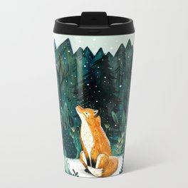 Snow Globe Fox Metal Travel Mug