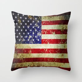 Grunge Vintage Aged American Flag Throw Pillow