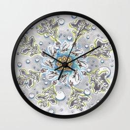 Faux Snow Mandala Wall Clock