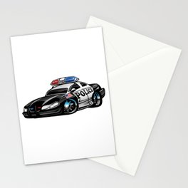 Police Muscle Car Cartoon Illustration Stationery Cards