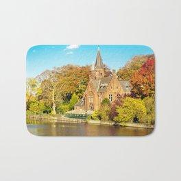 Minnewater lake of love in Bruges, Belgium Bath Mat