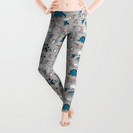 Origami dino friends // grey linen texture blue dinosaurs Leggings