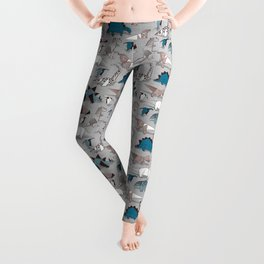 Origami dino friends // grey linen texture blue dinosaurs Leggings