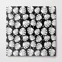 MONSTERA LEAVES - WHITE ON BLACK Metal Print