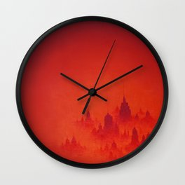 Red City Dusk Archival Giclee Print - Red Modern Art for the Office - Contemporary Wall Art Wall Clock