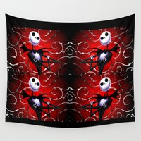 jack skellington Wall Tapestries featuring A very smug looking Skellington by BURPdesigns