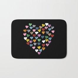 Distressed Hearts Heart Black Bath Mat