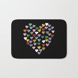 Distressed Hearts Heart Black Bath Mat