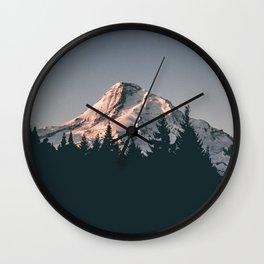 First Light on Mount Hood Wall Clock