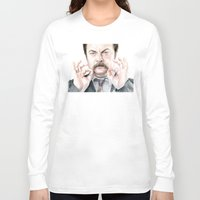 swanson Long Sleeve T-shirts featuring Swanson Mustache by Olechka