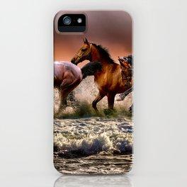 Wild Horses at the beach iPhone Case