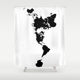 Dymaxion World Map (Fuller Projection Map) - Minimalist Black on White Shower Curtain