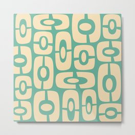 Mid Century Modern Cosmic Abstract 244 Green and Beige Metal Print