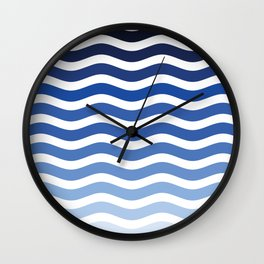 Ocean waves navy blue striped pattern, minimalist summer waves Wall Clock