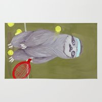 "sloths Area & Throw Rugs featuring Sloths Are Bad At Things- Kevin the Tennis Star by Megan ""Tillette"" Jones"
