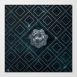 Pisces Zodiac Silver Embossed on the Star sky Canvas Print