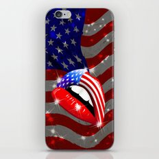USA Flag Lipstick on Sensual Lips iPhone & iPod Skin