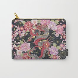 JAPANESE DRAGON & FLORAL KIMONO PRINT Carry-All Pouch