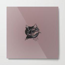 Pink Sleeping Cat Metal Print