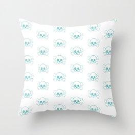 Aqua Skull and Crossbones Print and Pattern Throw Pillow