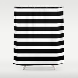 Wide Horizontal Stripe: Black and White Shower Curtain