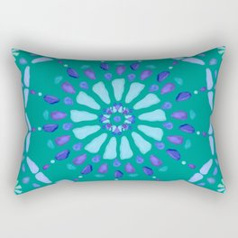 Sea Glass Sun and Flower Mosaic Rectangular Pillow