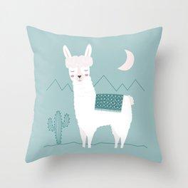 Alpaca In The Mountains Throw Pillow