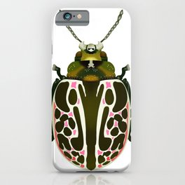 Green, White, Pink Beetle iPhone Case