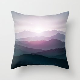 dark blue mountain landscape with fog and a sunrise and sunset Throw Pillow
