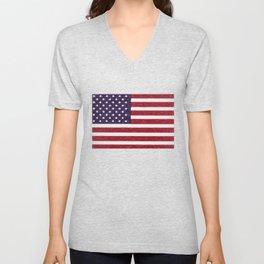 USA flag - in Crayon Unisex V-Neck