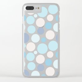 Abstract Circles - Blue and Grey Bubbles Clear iPhone Case