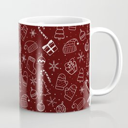 New Year Christmas winter holidays pattern with gifts, candys, christmas tree and toys, santa hat, s Coffee Mug