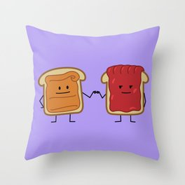 Peanut Butter and Jelly Fist Bump Throw Pillow
