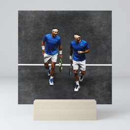 Nadal and Federer Doubles Mini Art Print